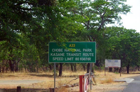 Chobe National Park in Botswana road sign.