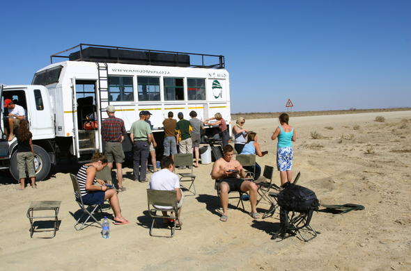 Roadside stop during Botswana Overland Adventure Tour.