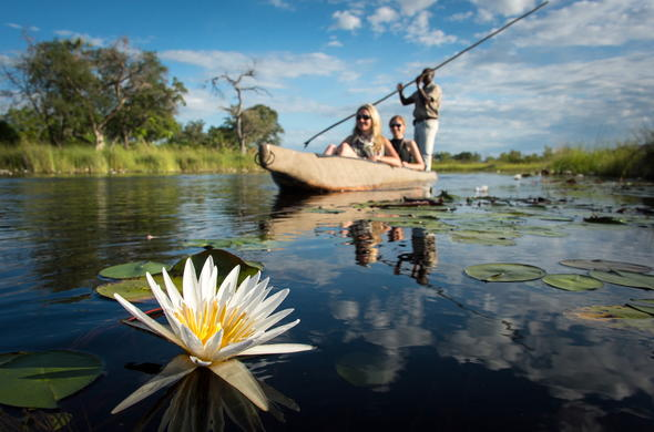 A traditional mokoro excursion through the Botswana wetlands.