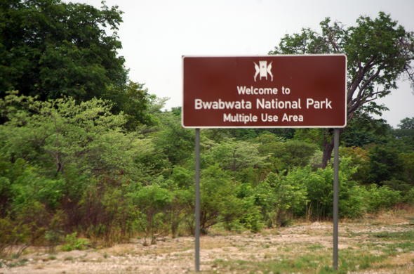 Bwabwata National Park road sign.