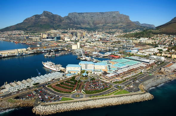 Aerial view of Cape Town and the V&A Waterfront.