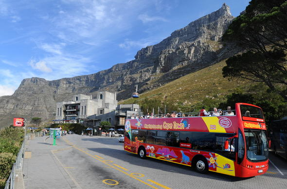 Cape Town Sightseeing bus to Table Mountain.