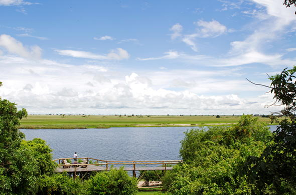 Stunning Chobe River views from game viewing deck at Chobe Game Lodge.
