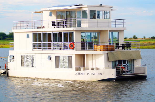 Chobe River houseboat cruising on the river.