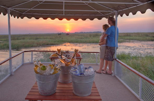 Romantic Chobe River cruise at sunset.