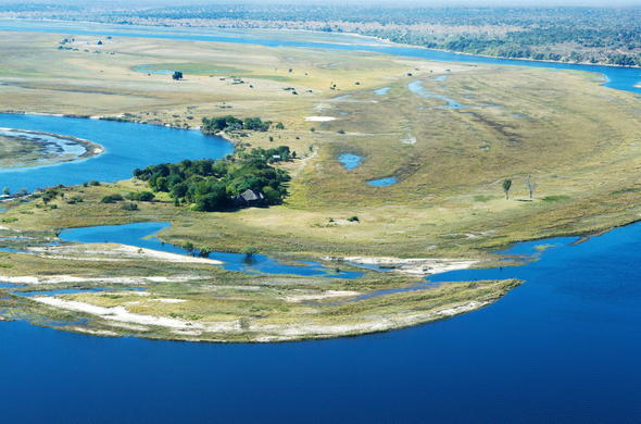 Aerial view of Chobe Savanna Lodge.