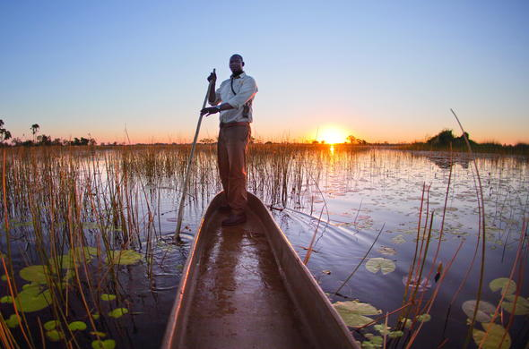 Experience a guided Okavango Delta mokoro canoe excursion.