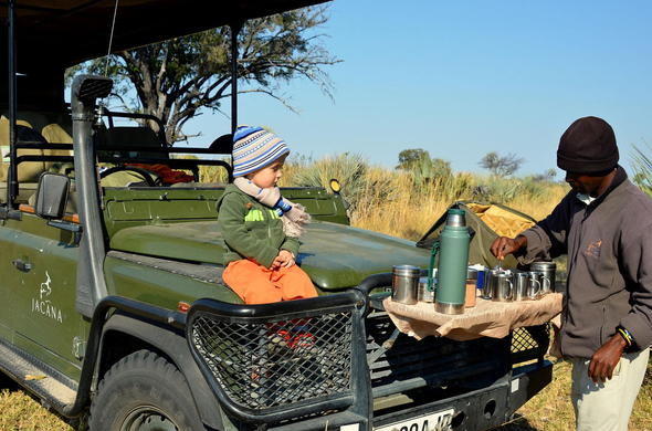 Kids on private game drive in the Okavango Delta.