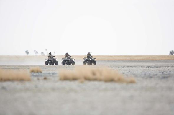 Quad-biking from Jacks Camp. Magadikgadi