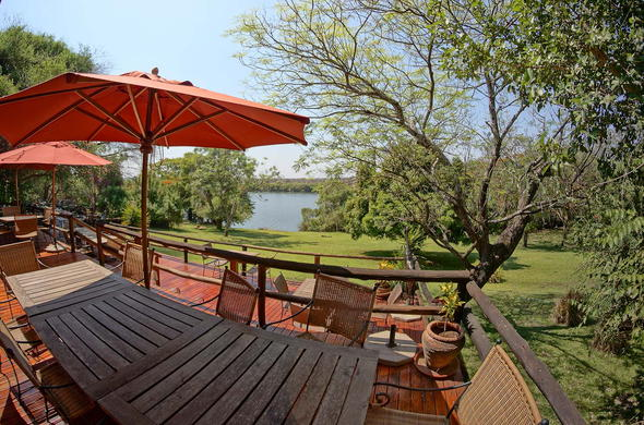 Stunning Chobe River views from the deck at Kubu Lodge.