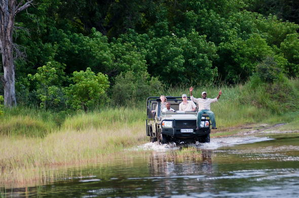 Off-road game drive at Kwara Camp in the Okavango Delta.