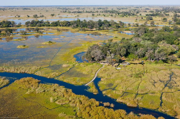 Aerial view of your accommodation in Okavango Delta.