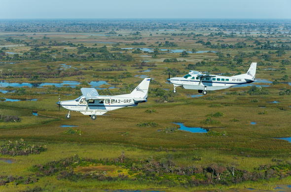 Light aircraft transfer into the Moremi Game Reserve.