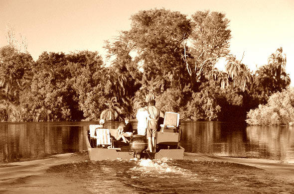 River safari by motor launch from the Zambezi Queen house boat