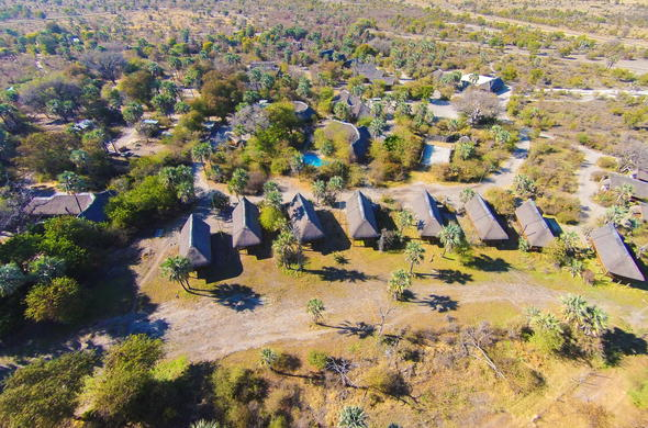Ariel view of Nata Lodge in the Makgadikgadi.