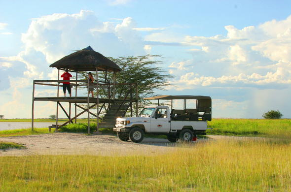 Stop at a lodge viewing deck en-route to the Makadikgadi Salt Pans.