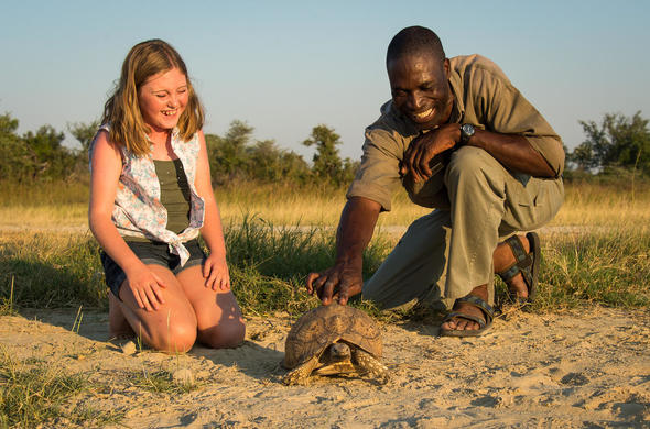 Child friendly safari activities in Okavango Delta, Botswana.