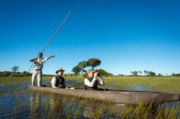 Mokoro canoe excursion in the Okavango Delta.