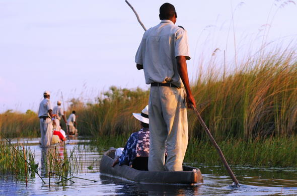Okavango Delta mokoro excursion with a guide.
