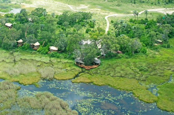 View of the Okavango Delta waterways from the sky.