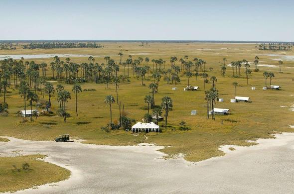 San Camp at the edge of the Kalahari