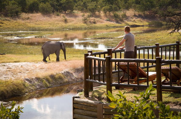 Watch passing Botswana wildlife from your game viewing deck.