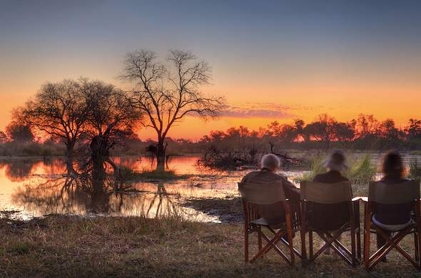 Sunset at Khwai River Lodge