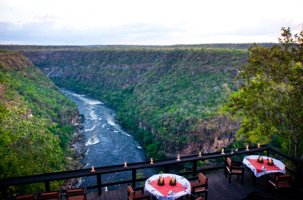 View from Taita Falcon Lodge in Batoka Gorge, Zambia.