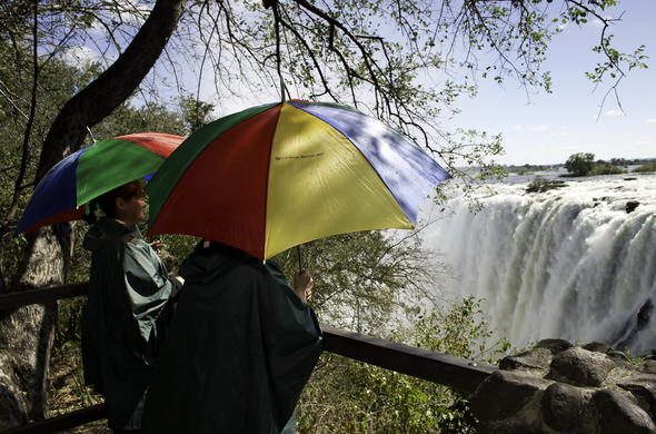 Viewing of the Victoria Falls on a guided tour.