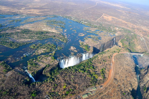 Aerial view of the majestic Victoria Falls.