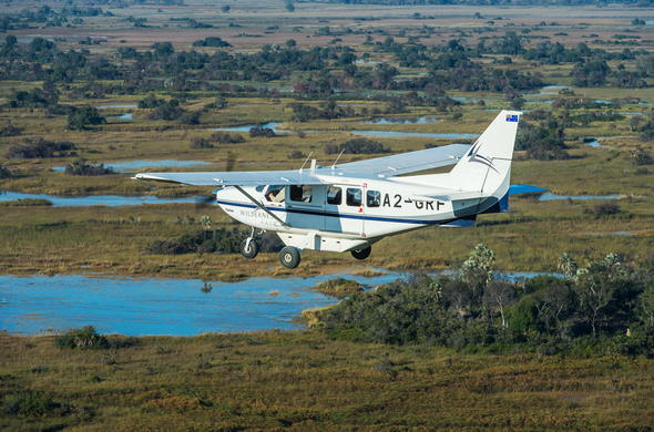 Light aircraft transfer to Xigera Camp in Botswana.